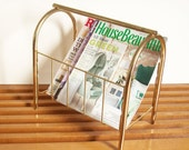 Vintage Brass Magazine Rack, Retro 1980s Decor, Magazine Stand