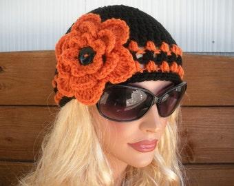Womens Hat Crochet Hat Winter Fashion Accessories Women Beanie Cloche Winter Hat in Black with Orange Stripes and Flower