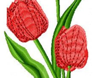 Large Tulips Flower Embroidery Design - Instant Download