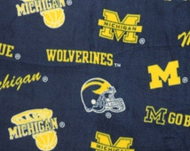 NCAA University of Michigan Wolverines Fleece V2 Fabric by the yard