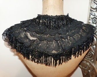 Victorian black lace w jet collar, 1800s antique French lace collar w black jet stone beads, beaded gothic steampunk clothing accessories