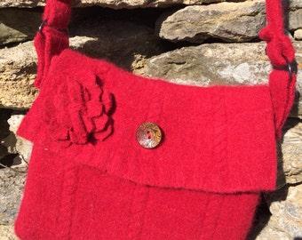 Red felted wool shoulder bag