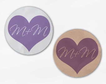 Initials in Heart Wedding Favor Stickers - Lavender Custom White Or Kraft Round Labels for Bag Seals, Envelopes, Mason Jars (2006)