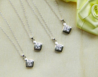 Bridesmaids Necklace Set of Four Sterling Silver Diamond Shaped Charms