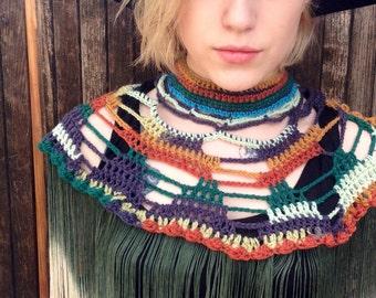 Crochet Neckpiece// Handmade GypsyCollars// Festival Collar With Ombré Tassels One of a Kind