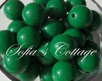 12mm. 25CT. Chunky Dark Green Beads, Solid, Round, A28