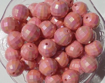 20mm 10CT. AB Salmon Faceted Gumball Beads, E5