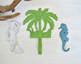 Ready to ship, Mermaid Hook, Sea Horse Hook,Palm Tree Hook,Cast iron hook,Tropical Decor