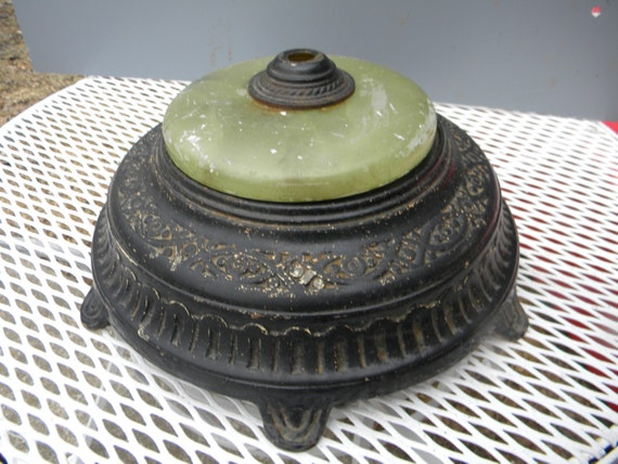 Good Shape Useable Antique 1930s Iron Green Marble Or Onyx