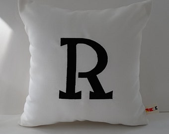 MONOGRAMMED ROBIN FONT pillow cover Sunbrella indoor outdoor embroidered letter initial alphabet custom script monogram oba canvas co.