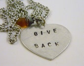 Stamped Give Back Orange Frosted Glass Briolette Charm Necklace Valentine's Day Graduation Gift