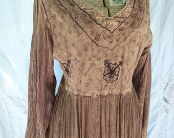 Vintage Maxi Dress ~ Nepal ~ Bohemian Hippie Chic  ~ Embroidery ~ Earth tone