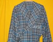 Hand Made Blue Plaid Wool Blend Maxi Length Bath Robe. Custom Made with three pockets, Custom Collar. Monogrammed left Lapel Pocket