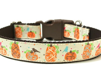"Pumpkin Dog Collar 1"" Fall Dog Collar SIZE MEDIUM"