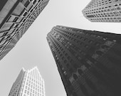 Detroit Skyscrapers - New Vintage Photograph - Black and White
