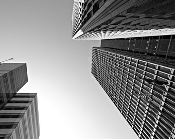 Detroit Architecture Photography - Two Detroit Buildings - Black and White