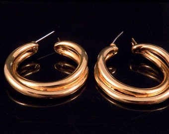 Vintage Earrings - Double Hoop Earrings - Pierced Earrings - Gold Tone Earrings - Gold Vintage Jewelry - Gold Costume Jewelry -Free Shipping