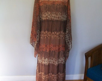 SALE Floral Hawaiian Goddess Dress- Angel Sleeves- Fall colors- Sheer and flowy (( Size large to extra large))
