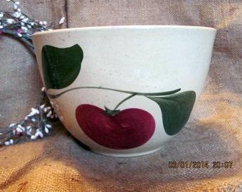 Watt Pottery Bowl / Watt Apple Deep Mixing Bowl / Watt Yellow Ware Bowl / Red Apple Bowl