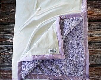 Minky Blanket, Lavender blanket, cream and lavender, purple blanket, satin and minky, oversized minky blanket, adult minky blanket