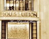 Paris Photography- Louis Vuitton Art-  Boutique -Fashion Print - Fine Art -Champs Elysees- Sepia-Paris-Fashion Art-Preppy-Nursery- Parisian