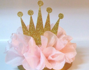 Crown Tiara Glitter Centerpiece Pink Royal Princess Birthday Party