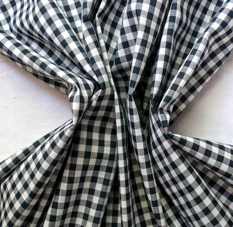 1950s Vintage Gingham Fabric Black And White By Bluezinniavintage