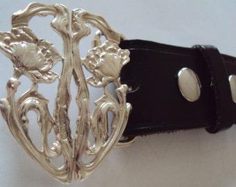 Edwardian Design of Wild Poppies Solid Sterling Silver Belt Buckle