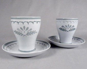 Arabia, Green Thistle, Handpainted, Juice Glasses, Coffee Cup, Coasters, sets