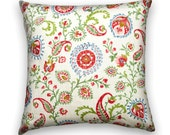 Red, Green, Blue & Pink Contemporary Paisley and Flower Decorative 16x16 or 18x18 or 20x20 or 22x22 or 24x24 Throw Pillow- Accent Pillow