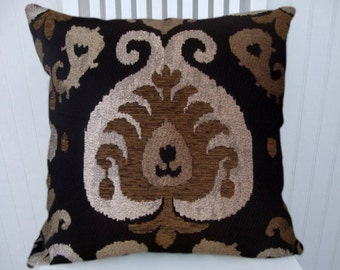 Gold Silver Pillow- 18x18 or 20x20 or 22x22 Decorative Throw Pillow Cover Accent Pillow with Black and Brown