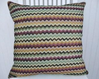Purple Green Chevron Pillow Cover --Zig Zag Throw Pillow Cover- Lumbar Pillow Cover, Accent Pillow Cover