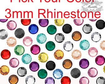 1000-5000 PCS X 3mm Assorted Crystal Mix Color Nail Round Rhinestones Gems Mixed Cabochons RS Jet Black Gold Brown Clear White Peach Red R3