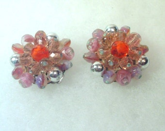 Vintage Glass Cluster Rosette Clip Earrings - Pink, Orange - 1950's