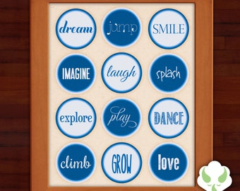 Print: Words to grow on — nursery, baby, typography