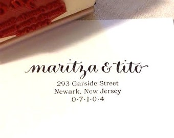 CALLIGRAPHY ADDRESS STAMP - Return Address in Script & Type - Weddings, Branding, Custom - Wooden Handle