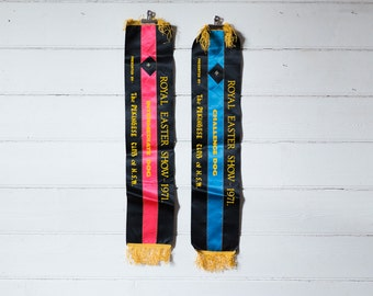 1971 Royal Easter pekinese dog show ribbons x 2