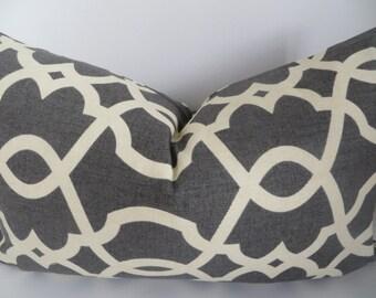 Pillow cover, Gray lumbar, Gray pillow cover, Geometric pillow, Cream pillow, Gray cream pillow,Dark grey pillow, Home decor, Accent lumbar