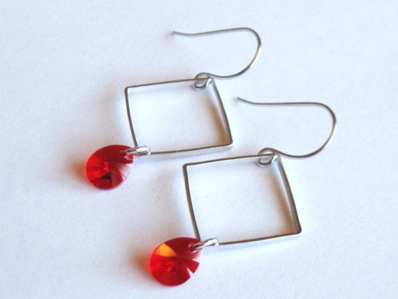 RESERVED for Wendy Small Silver Square Earrings with Red Drops
