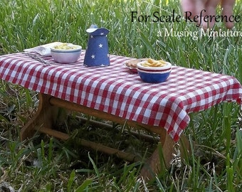 Dollhouse Table Cloth in YOUR CHOICE Gingham for 1:12 Scale Miniature Picnic or Barbeque