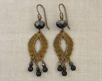 Black Chandelier Earrings, Black Drop Earrings, Brass Dangle Earrings