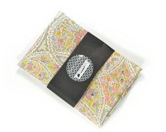Wedding Mens Pocket Square Kamal Khan- Pink, gold and grey/blue paisley