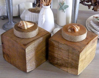Two (2) curved, square wooden container with seashells for coastal feel ideal for bathroom or any room.