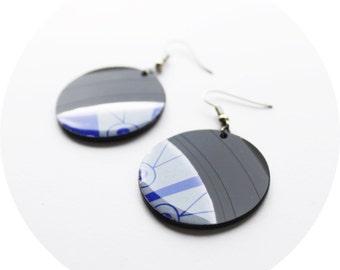round dangle earrings blue disc earrings unique earrings blue and gray earrings music geek earrings modern jewelry vinyl record jewelry