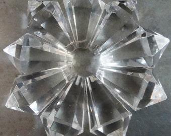 9 Crystal Prism Drop Cone Chandelier Lamp Pieces