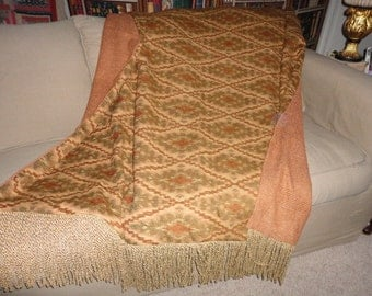 Ikat Throw Blanket,  Earth Tones Pumpkin Spice, Tribal Throws, Luxurious Throws, African Quilts, Sofa Throws, Lap Cover, Decorator Bedding