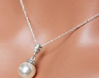 SET OF 7 - Pearl Drop Wedding Necklace, Bridal Necklace, Bridesmaids Necklace, Pearl Pendant, Wedding Pendant