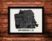 San Francisco Map Art Print   San Francisco Print   San Francisco Art Print   San Francisco Poster   San Francisco Gift   Wall Art