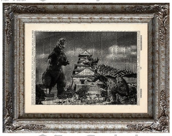 Godzilla vs Anguirus 5 on Vintage Upcycled  Dictionary Art Print Book Art Print Recycled Movie Monster