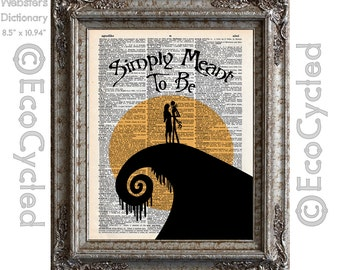 Nightmare Before Christmas 7 Simply Meant to Be Jack and Sally on Vintage Upcycled Dictionary Art Print Book Art Print Silhouette Wedding